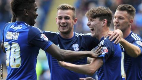 Cardiff City celebrate Joe Mason's goal against Huddersfield