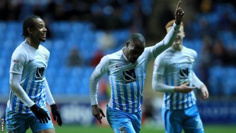 Kyel Reid celebrates Coventry's first goal against Port Vale