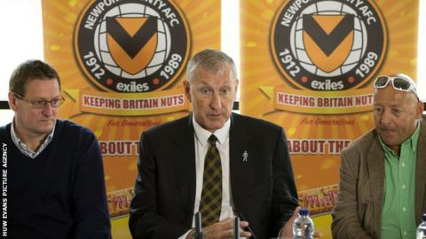 (L to R) Newport County director Howard Greenhaf, manager Terry Butcher and former chairman Les Scadding