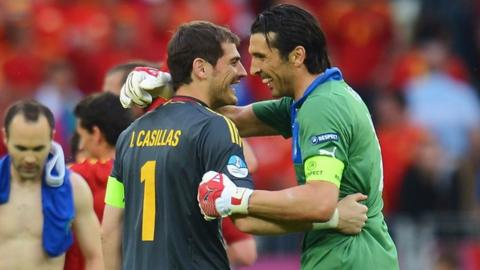 Iker Casillas and Gianlugi Buffon