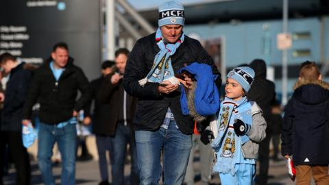 Manchester City fans ahead of kick-off