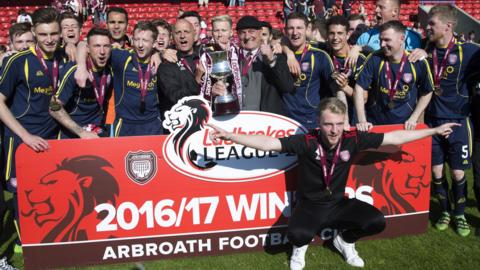 Arbroath celebrate winning Scottish League Two