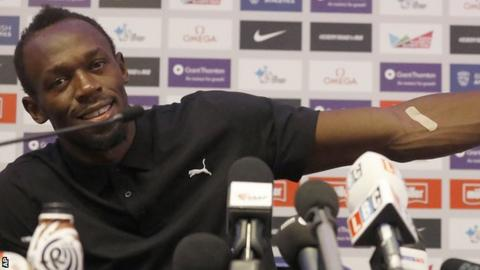 A relaxed Usain Bolt at his London Anniversary Games news conference