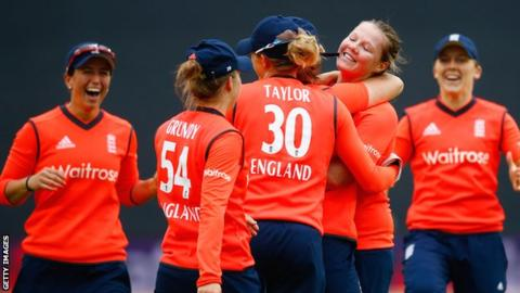 England celebrate a wicket by Anya Shrubsole (second right)