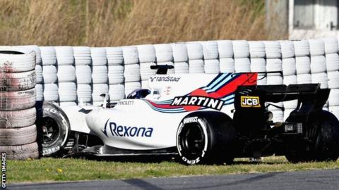 Lance Stroll's F1 testing debut ends early after spin at Barcelona