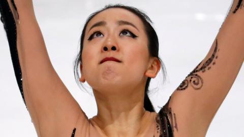 Close up of Mao Asada, competing in the ISU Grand Prix Trophee de France in Paris, France, on 11 November 2016.