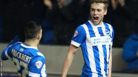 Anthony Knockaert and James Wilson celebrate Brighton's opening goal