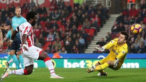 Stoke striker Wilfried Bony scores against Swansea