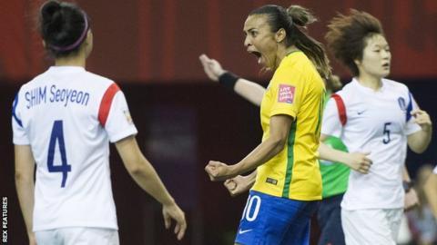 Marta Vieira da Silva in action for Brazil