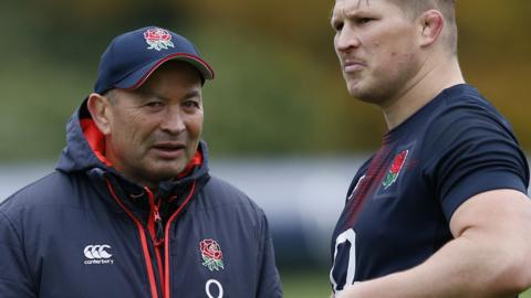 England head coach Eddie Jones with captain Dylan Hartley