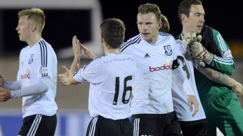 Ayr United celebrate a convincing win