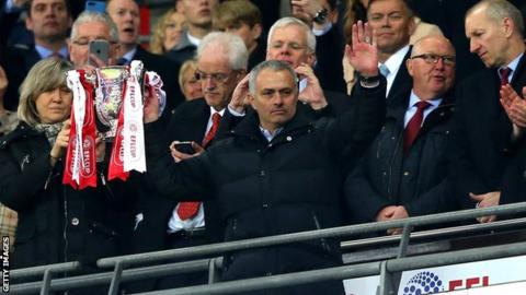 Jose Mourinho lifts the EFL Cup
