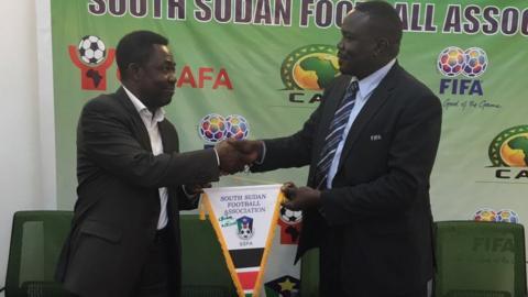 South Sudan FA president Chabur Goc Alei and Fifa's Veron Mosengo-Omba