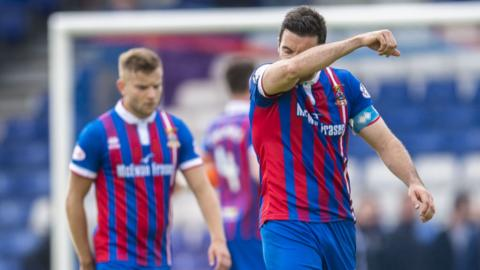 Inverness midfielder Ross Draper trudges off at full-time