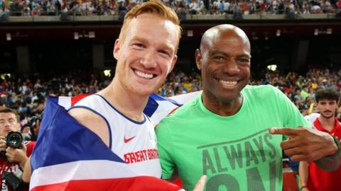 Greg Rutherford (left) and Mike Powell
