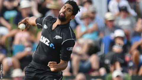 Ish Sodhi in action for New Zealand