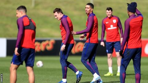 Phil Jones (second left) and Chris Smalling