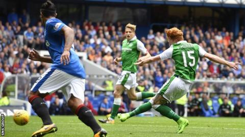 Simon Murray slides home a composed shot to make it 1-1 at Ibrox