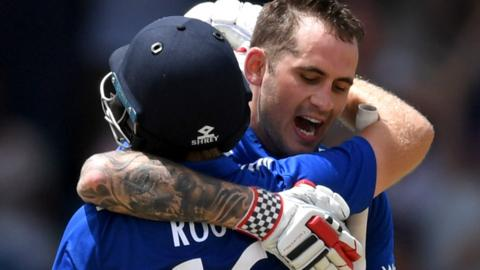 Alex Hales and Joe Root celebrate for England