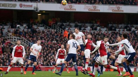 Shkodran Mustafi scores for Arsenal against Tottenham