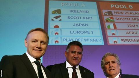 Ireland head coach Joe Schmidt (left) with Japan's coach Jamie Joseph and Scotland's Director of Rugby Scott Johnson after the Rugby World Cup draw in Japan