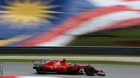 Malaysia Grand Prix: Kimi Raikkonen top as Sebastian Vettel breaks down