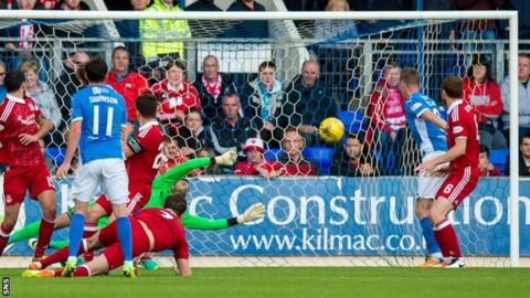 Danny Swanson (second left) had the best chance of the game with a volley