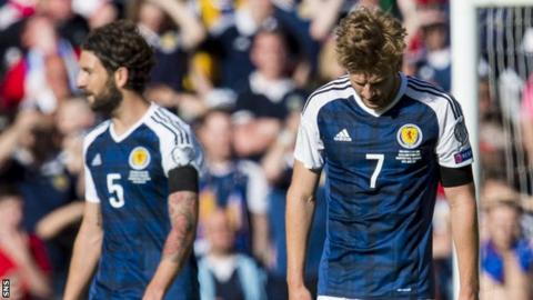 Scotland's Charlie Mulgrew and Stuart Armstrong are left disappointed against England