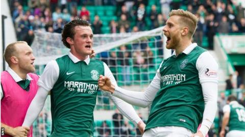 Hibs' Niklas Gunnarsson (right) celebrates a goal at Easter Road