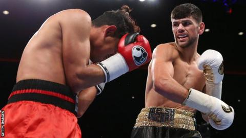 Joe Cordina in action against Jose Aguilar