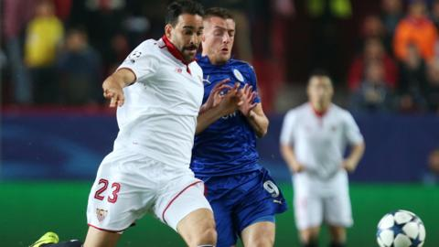 Jamie Vardy challenges for the ball