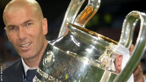 Zinedine Zidane with the Champions League trophy