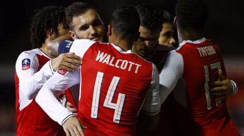 Arsenal's Lucas Perez celebrates