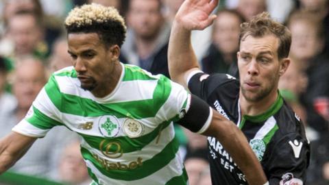 Celtic's Scott Sinclair and Hibs' Steven Whittaker