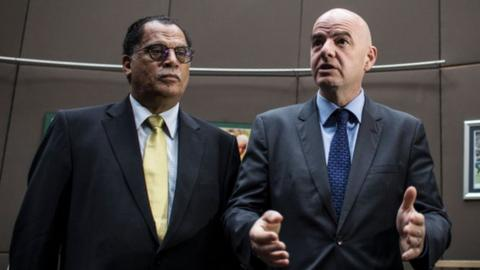 South African FA president Danny Jordaan and Fifa chief Gianni Infantino