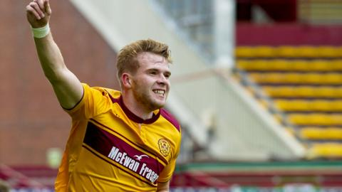 Chris Cadden celebrates his goal