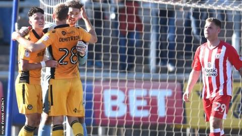 Newport County celebrate their win over Accrington Stanley