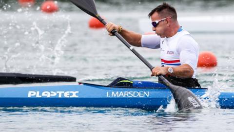 Para-canoeist Ian Marsden in action