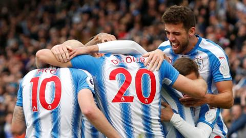 Huddersfield players celebrate