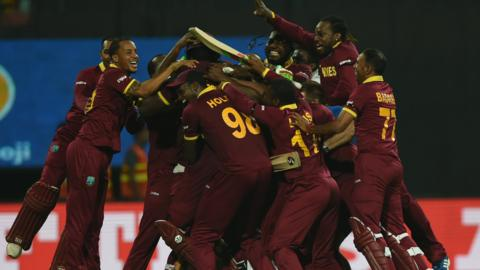 West Indies celebrate after their World T20 final victory
