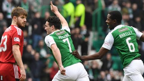 Hibs' John McGinn (centre) celebrates scoring