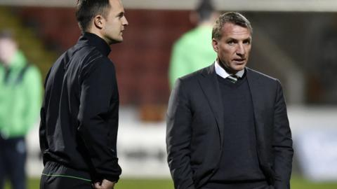 Celtic assistant coach Chris Davies and manager Brendan Rodgers