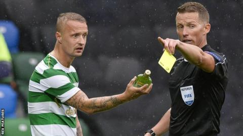 Leigh Griffiths was booked after the bottle was thrown at him at Windsor Park