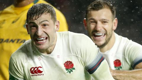 Jonny May celebrates scoring England's third try with creator Danny Care