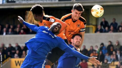 Danny Batth scores for Wolves against Cardiff City.