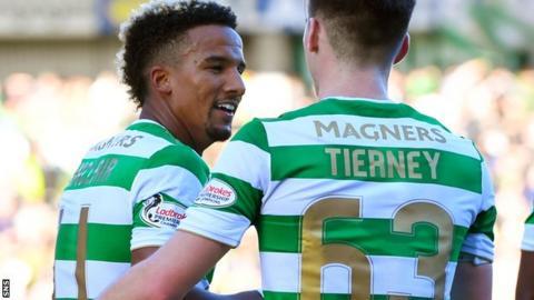 Celtic's Scott Sinclair and Kieran Tierney celebrate