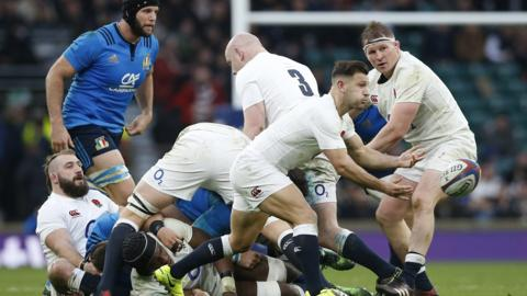 England scrum-half Danny Care passes the ball