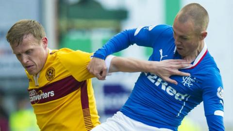Motherwell's Stevie Hammell and Rangers' Kenny Miller