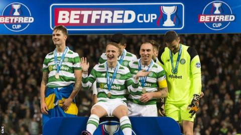 Celtic celebrate their Scottish League Cup final win