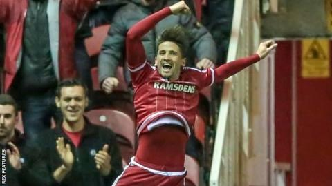 Middlesbrough's Gaston Ramirez celebrates his goal against Wolves